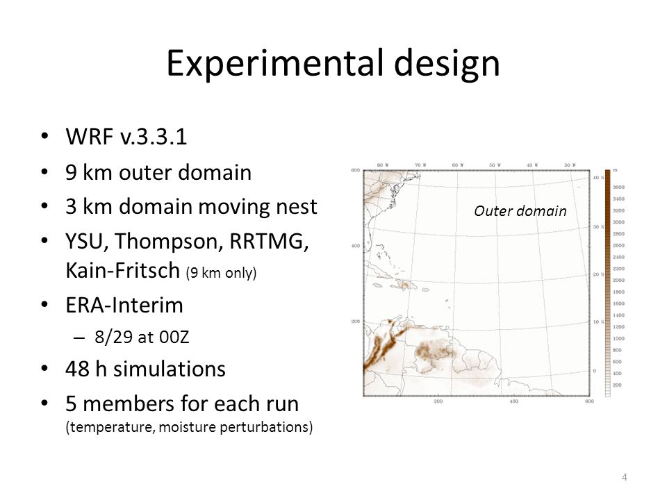 Experimental design WRF v.3.3.1 9 km outer domain 3 km domain moving nest YSU, Thompson, RRTMG, Kain-Fritsch (9 km only) ERA-Interim – 8/29 at 00Z 48 h simulations 5 members for each run (temperature, moisture perturbations) 4 Outer domain