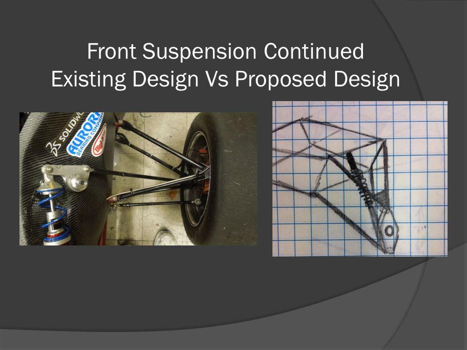 Front Suspension Continued Existing Design Vs Proposed Design