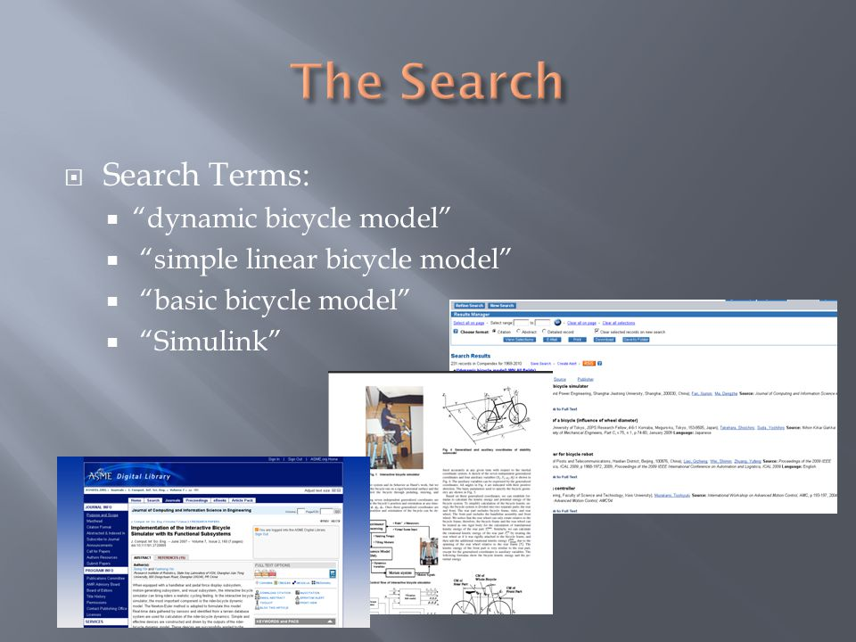 " Search Terms:  ""dynamic bicycle model""  ""simple linear bicycle model""  ""basic bicycle model""  ""Simulink"""