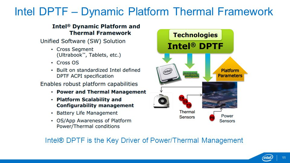 11 Intel DPTF – Dynamic Platform Thermal Framework Intel® DPTF is the Key Driver of Power/Thermal Management