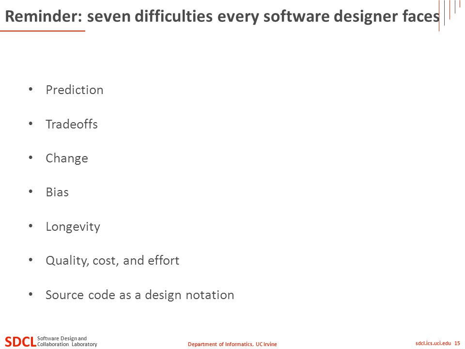 Department of Informatics, UC Irvine SDCL Collaboration Laboratory Software Design and sdcl.ics.uci.edu 15 Reminder: seven difficulties every software
