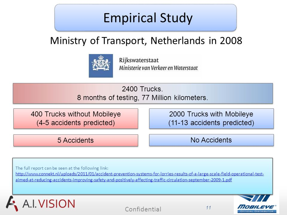 Confidential 11 2000 Trucks with Mobileye (11-13 accidents predicted) 2000 Trucks with Mobileye (11-13 accidents predicted) 400 Trucks without Mobileye (4-5 accidents predicted) 400 Trucks without Mobileye (4-5 accidents predicted) 2400 Trucks.