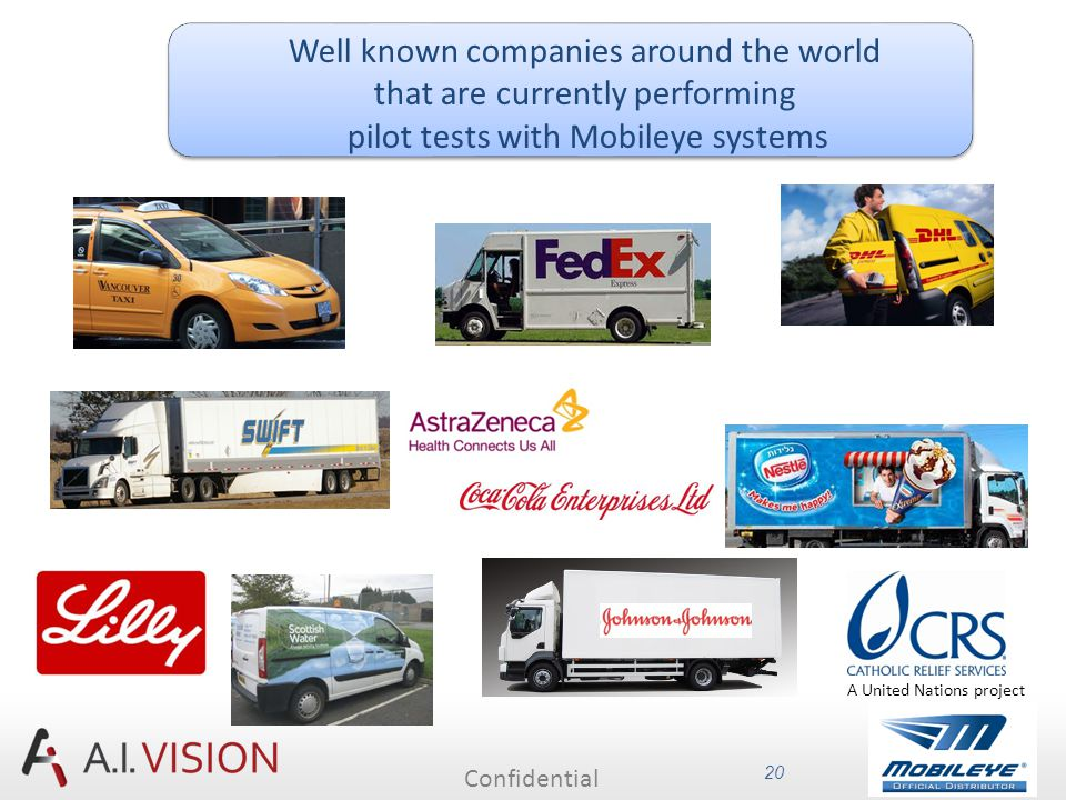 Confidential 20 Well known companies around the world that are currently performing pilot tests with Mobileye systems A United Nations project