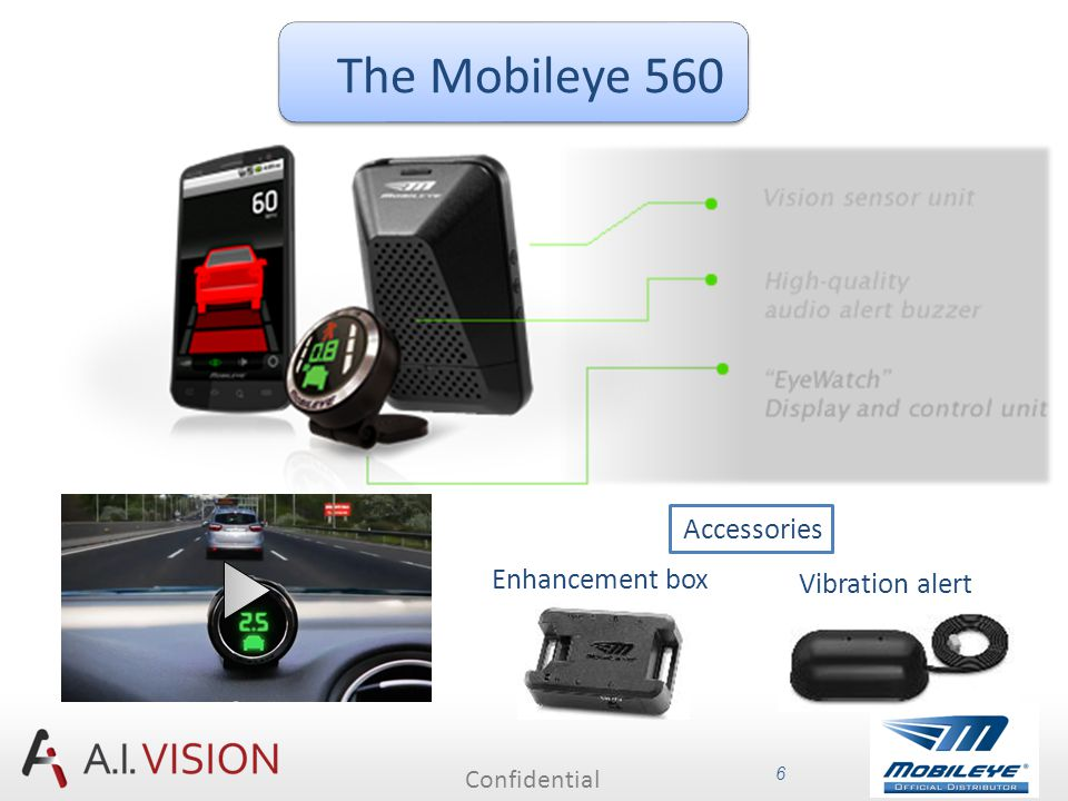 Confidential 7 Mobileye Pedestrian Collision Warning Mobileye Lane Departure Warning Mobileye Forward Collision Warning Mobileye Headway Monitoring and Warning Mobileye Intelligent High-Beam Control Mobileye Traffic Sign Recognition/Speed Limit Indication Please click on each graphic to see the relevant clip.