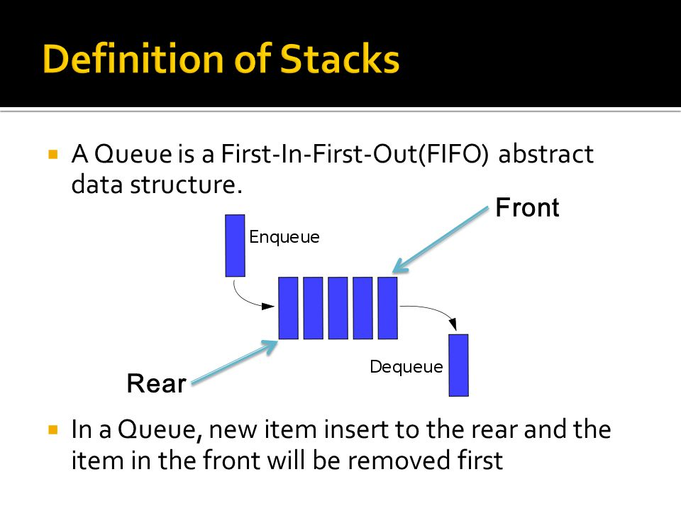  A queue is similar to a stack, except that you join the queue at one end and leave it at the other.