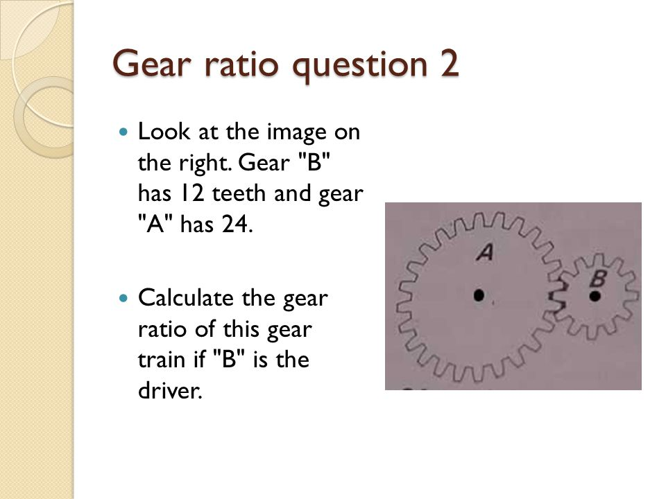 Gear ratio question 2 Look at the image on the right.