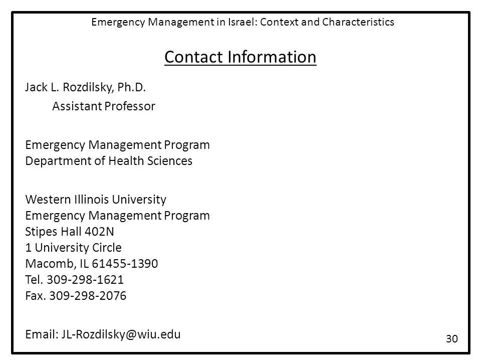 Contact Information Jack L. Rozdilsky, Ph.D.