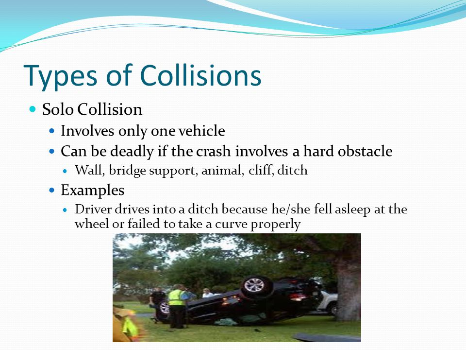 Avoiding Side-Impact Collisions Most vehicles are less equipped to withstand a side impact than they are a head-on collisions If you are at risk of colliding with the side of another vehicle: Honk and flash lights to warn the other driver Swerve right rather than left if there is no time to look first If you are about to be impacted: Accelerate rather than brake Gets you out of the way quicker Braking may actually contribute to a side-impact collision If the way ahead is not clear, turn in the direction that the other vehicle is moving Causes the impact behind you to the rear of the vehicle Turning toward the vehicle risks colliding head-on