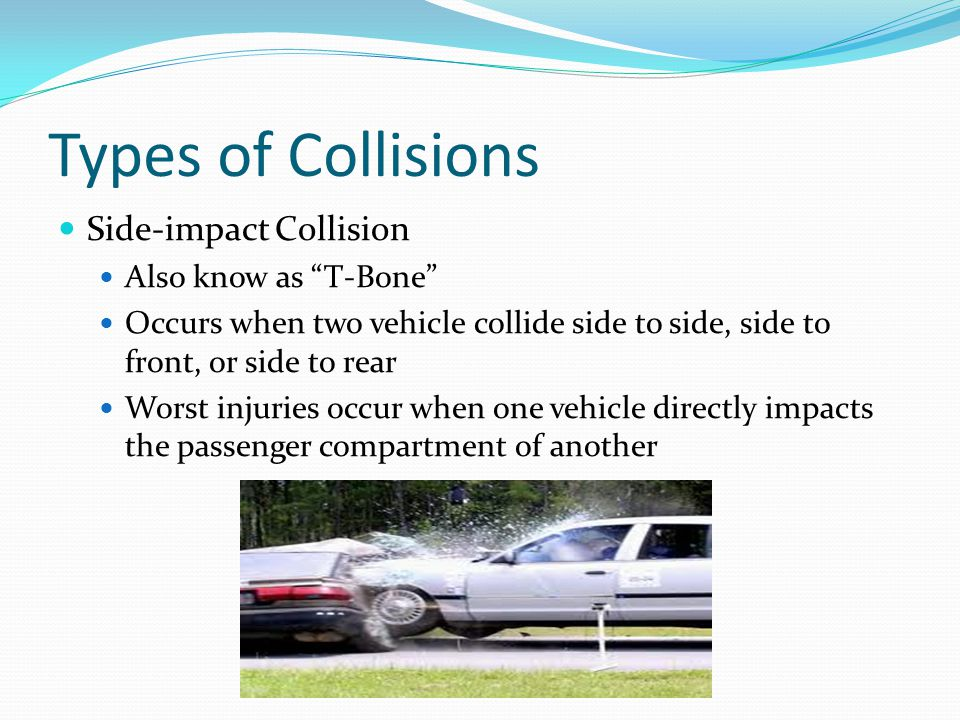 "Types of Collisions Side-impact Collision Also know as ""T-Bone"" Occurs when two vehicle collide side to side, side to front, or side to rear Worst inj"