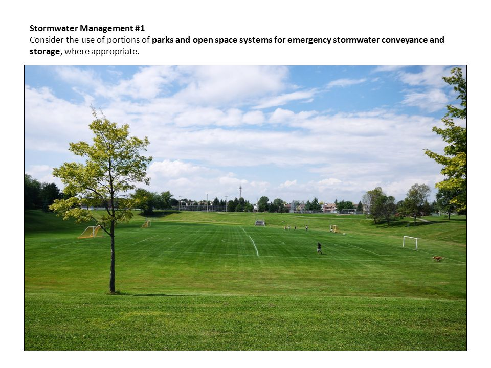Stormwater Management #1 Consider the use of portions of parks and open space systems for emergency stormwater conveyance and storage, where appropriate.