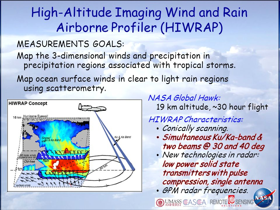 High-Altitude Imaging Wind and Rain Airborne Profiler (HIWRAP) MEASUREMENTS GOALS: Map the 3-dimensional winds and precipitation in precipitation regi