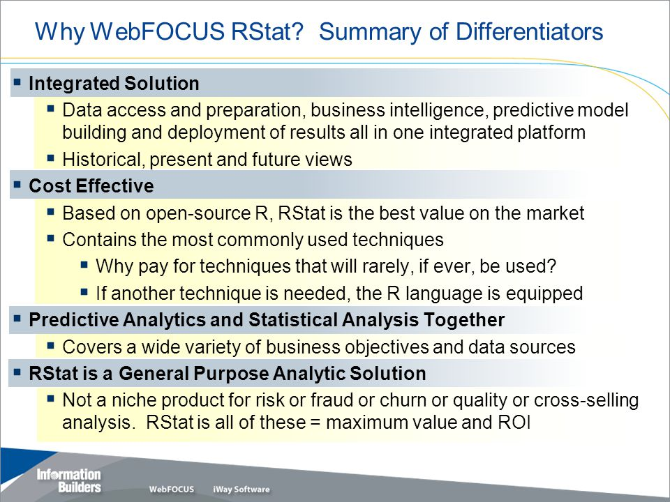 Copyright 2007, Information Builders. Slide 21 Why WebFOCUS RStat.