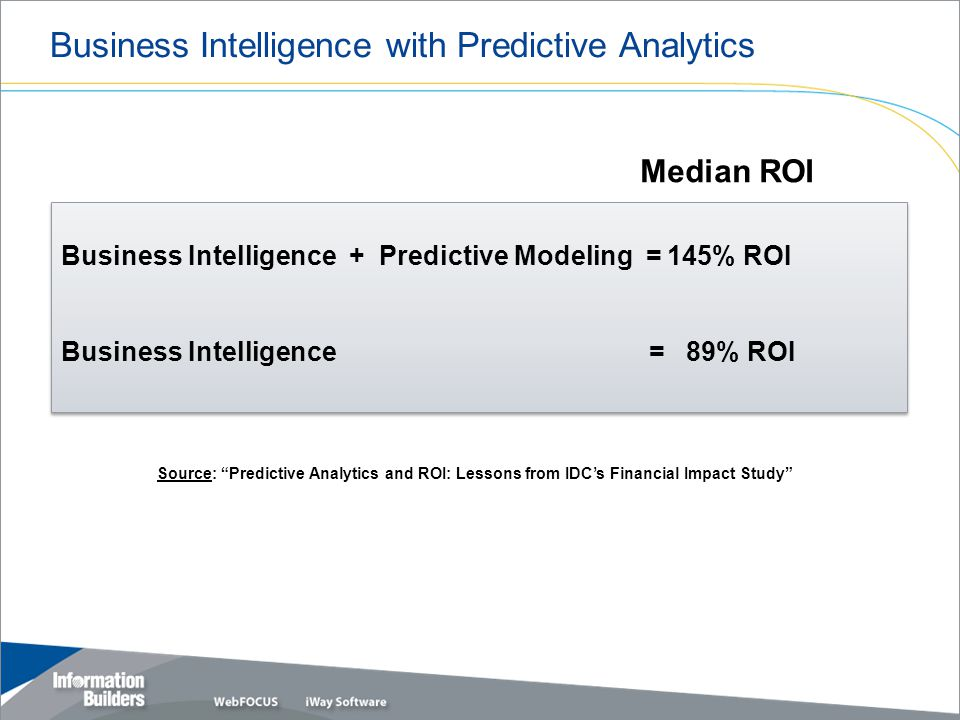 Business Intelligence with Predictive Analytics Copyright 2007, Information Builders.