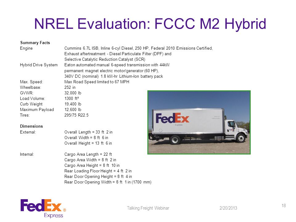 NREL Evaluation: FCCC M2 Hybrid 2/20/2013Talking Freight Webinar 18 Summary Facts EngineCummins 6.7L ISB, Inline 6-cyl Diesel, 250 HP, Federal 2010 Emissions Certified, Exhaust aftertreatment - Diesel Particulate Filter (DPF) and Selective Catalytic Reduction Catalyst (SCR) Hybrid Drive SystemEaton automated manual 6-speed transmission with 44kW permanent magnet electric motor/generator (60 HP), 340V DC (nominal) 1.8 kW-hr Lithium-Ion battery pack Max.