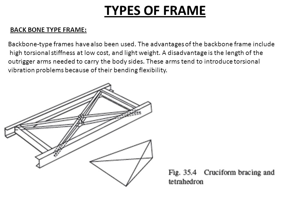 Backbone-type frames have also been used. The advantages of the backbone frame include high torsional stiffness at low cost, and light weight. A disad