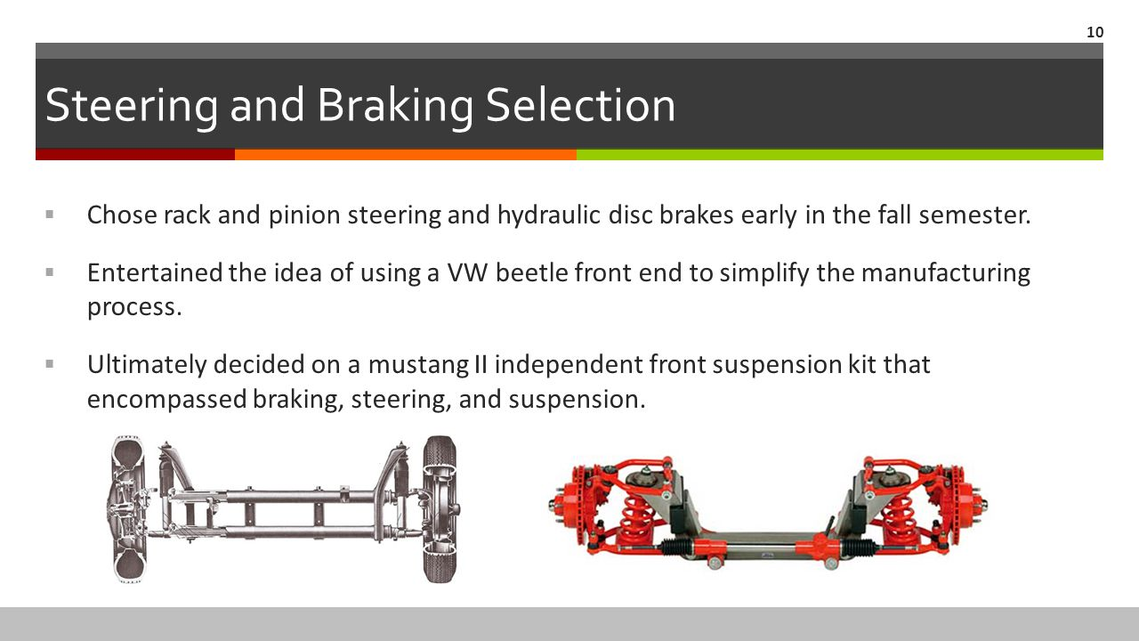 Steering and Braking Selection  Chose rack and pinion steering and hydraulic disc brakes early in the fall semester.  Entertained the idea of using