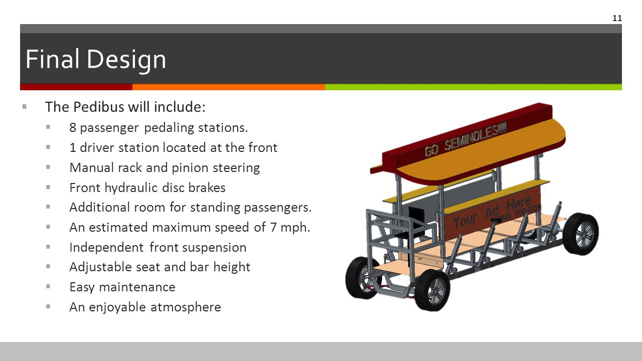 Final Design 11  The Pedibus will include:  8 passenger pedaling stations.  1 driver station located at the front  Manual rack and pinion steering