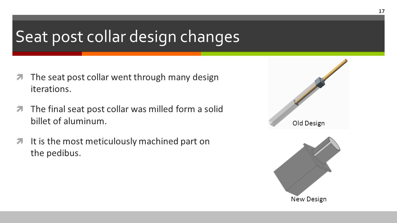Seat post collar design changes  The seat post collar went through many design iterations.  The final seat post collar was milled form a solid bille