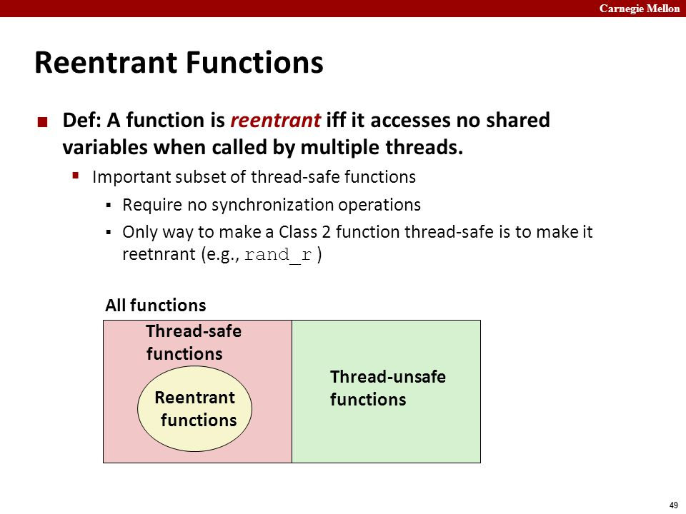 Carnegie Mellon 49 Reentrant Functions Def: A function is reentrant iff it accesses no shared variables when called by multiple threads.