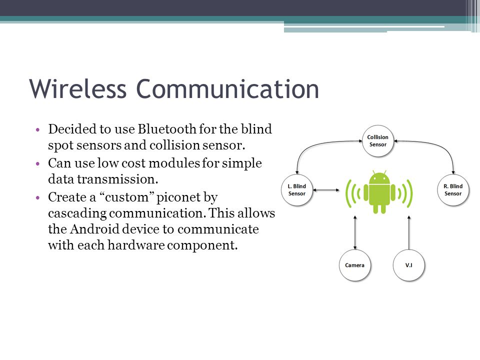 Wireless Communication Decided to use Bluetooth for the blind spot sensors and collision sensor. Can use low cost modules for simple data transmission