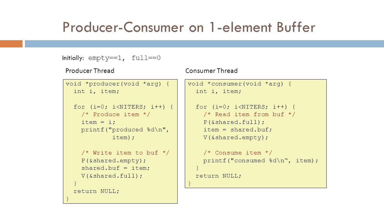 Producer-Consumer on 1-element Buffer void *producer(void *arg) { int i, item; for (i=0; i<NITERS; i++) { /* Produce item */ item = i; printf(