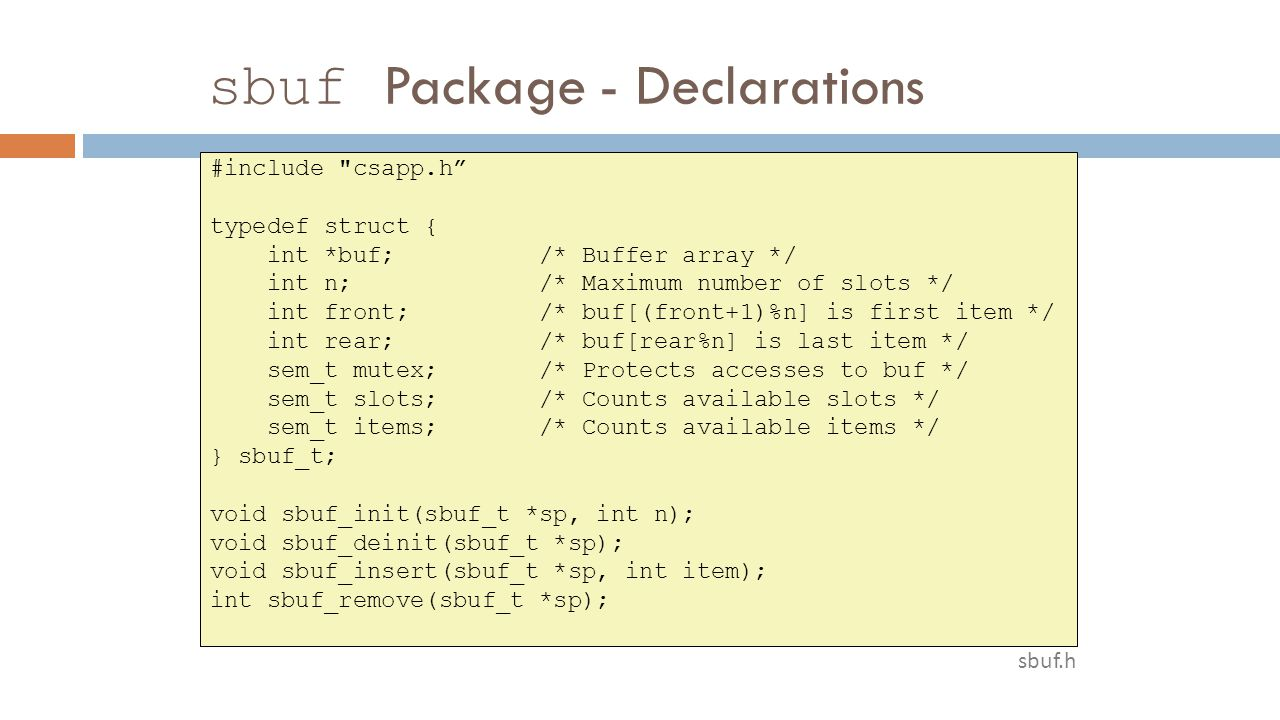 sbuf Package - Declarations #include