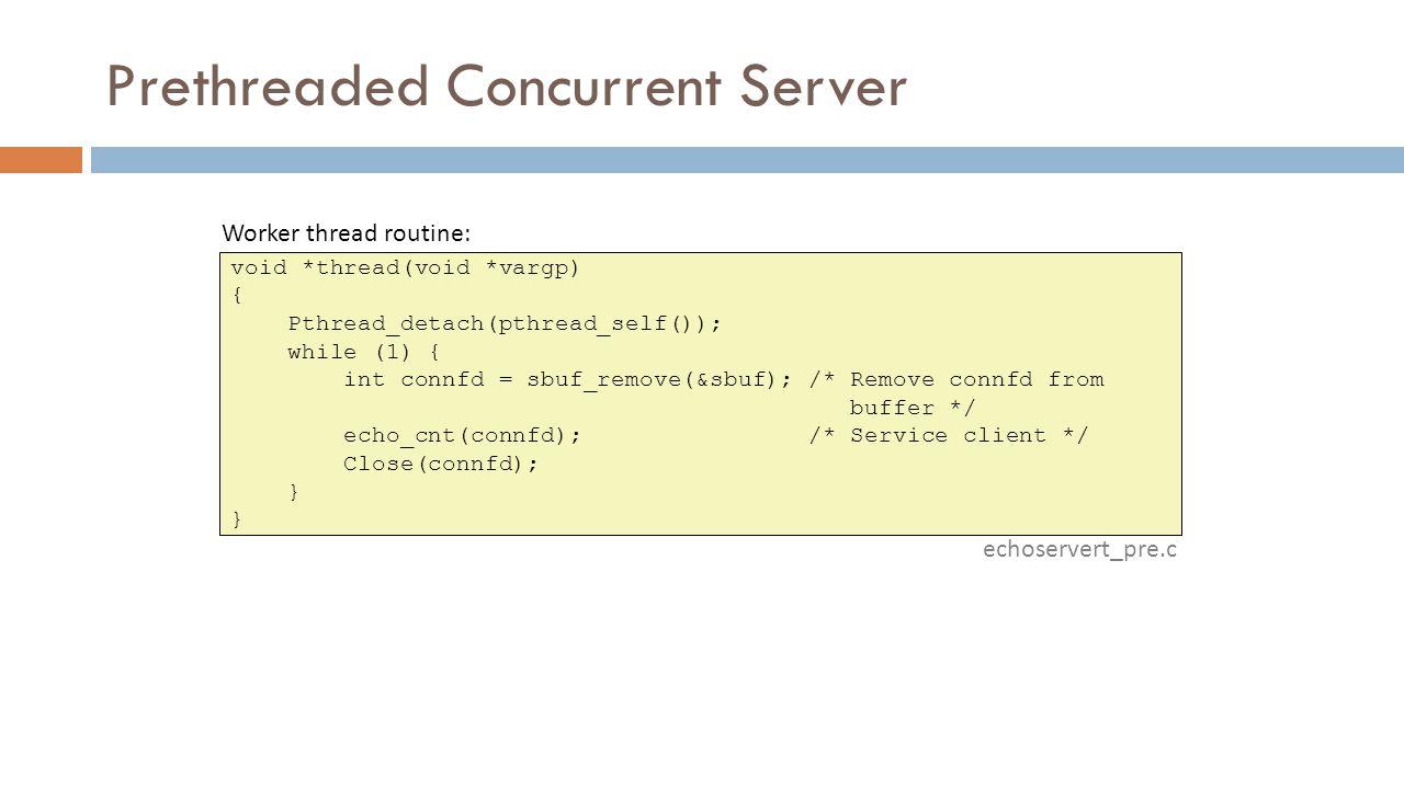 Prethreaded Concurrent Server void *thread(void *vargp) { Pthread_detach(pthread_self()); while (1) { int connfd = sbuf_remove(&sbuf); /* Remove connfd from buffer */ echo_cnt(connfd); /* Service client */ Close(connfd); } echoservert_pre.c Worker thread routine: