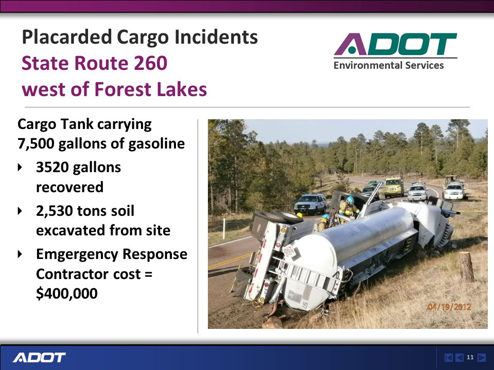 11 Placarded Cargo Incidents State Route 260 west of Forest Lakes Cargo Tank carrying 7,500 gallons of gasoline 3520 gallons recovered 2,530 tons soil excavated from site Emgergency Response Contractor cost = $400,000
