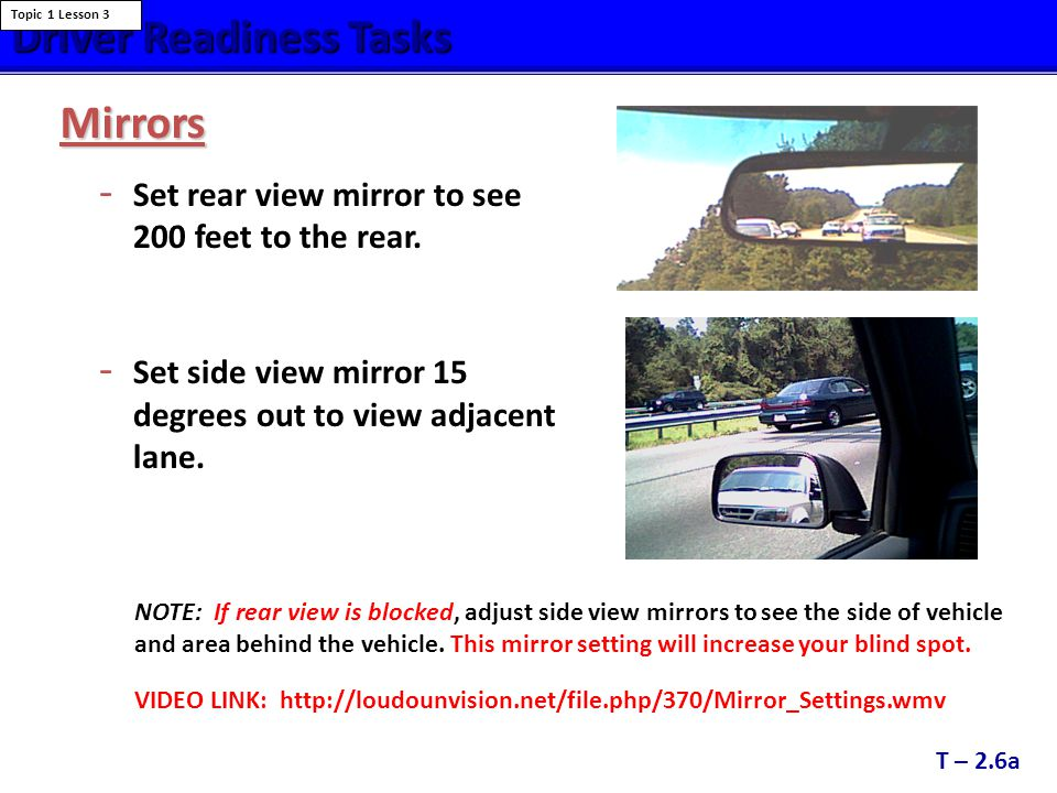 Traditional Mirror Views and Blind Spots Traditional Mirror Views and Blind Spots Notice the large blind zone areas and the overlap between the side and rear mirrors when using traditional mirror settings.
