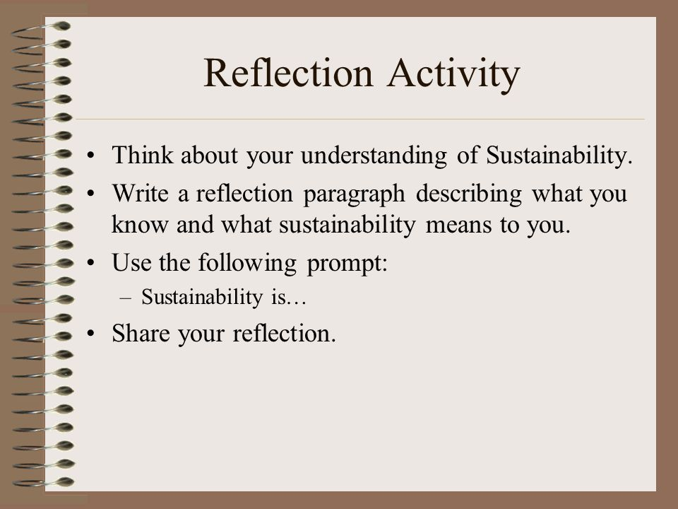 Reflection Activity Think about your understanding of Sustainability.