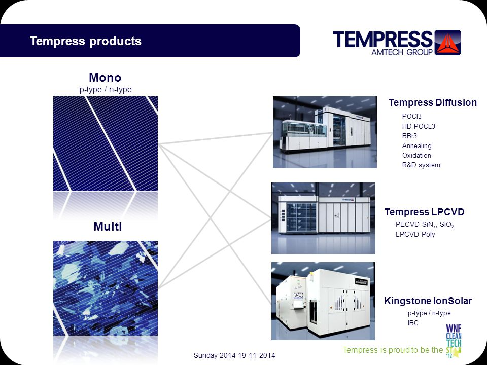 Tempress is proud to be the Tempress Diffusion Kingstone IonSolar Tempress LPCVD PECVD SiN x, SiO 2 LPCVD Poly Multi Mono POCl3 HD POCL3 BBr3 Annealing Oxidation R&D system p-type / n-type IBC Tempress products p-type / n-type Sunday 2014 19-11-2014