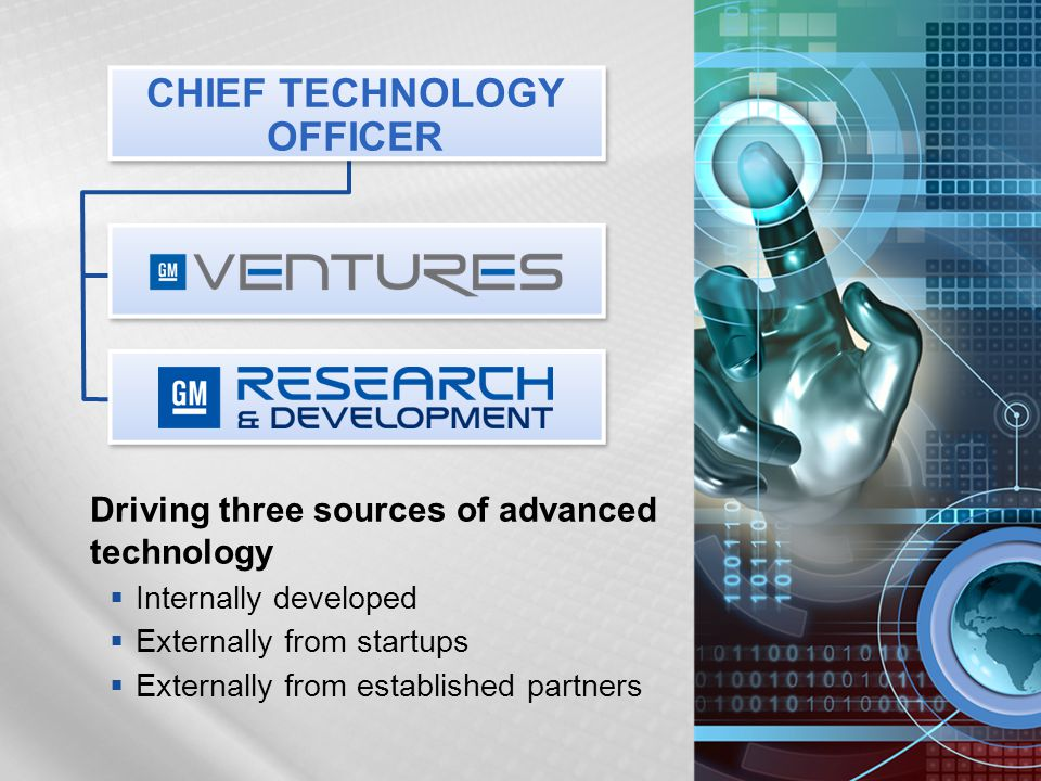 Driving three sources of advanced technology  Internally developed  Externally from startups  Externally from established partners CHIEF TECHNOLOGY OFFICER