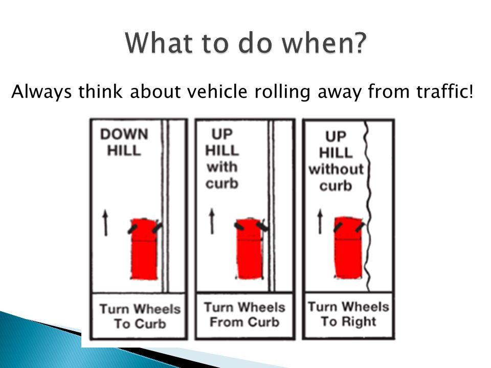 Always think about vehicle rolling away from traffic!