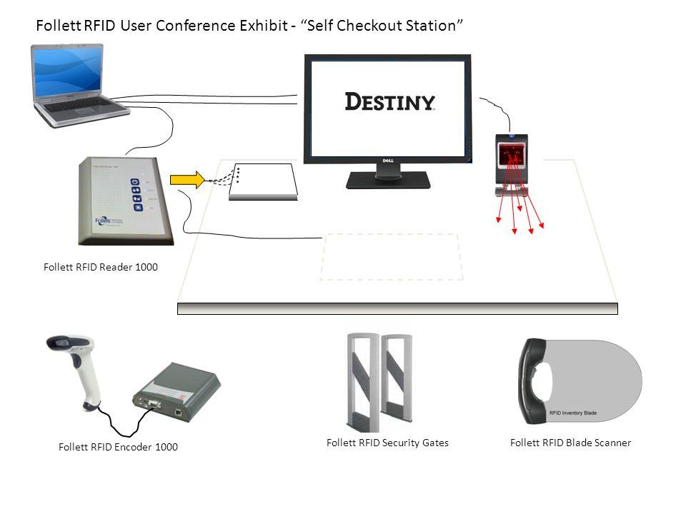 """Follett RFID Reader 1000 SR10 Follett RFID Encoder 1000 Follett RFID Security Gates Follett RFID User Conference Exhibit - """"Self Checkout Station"""" Fol"""