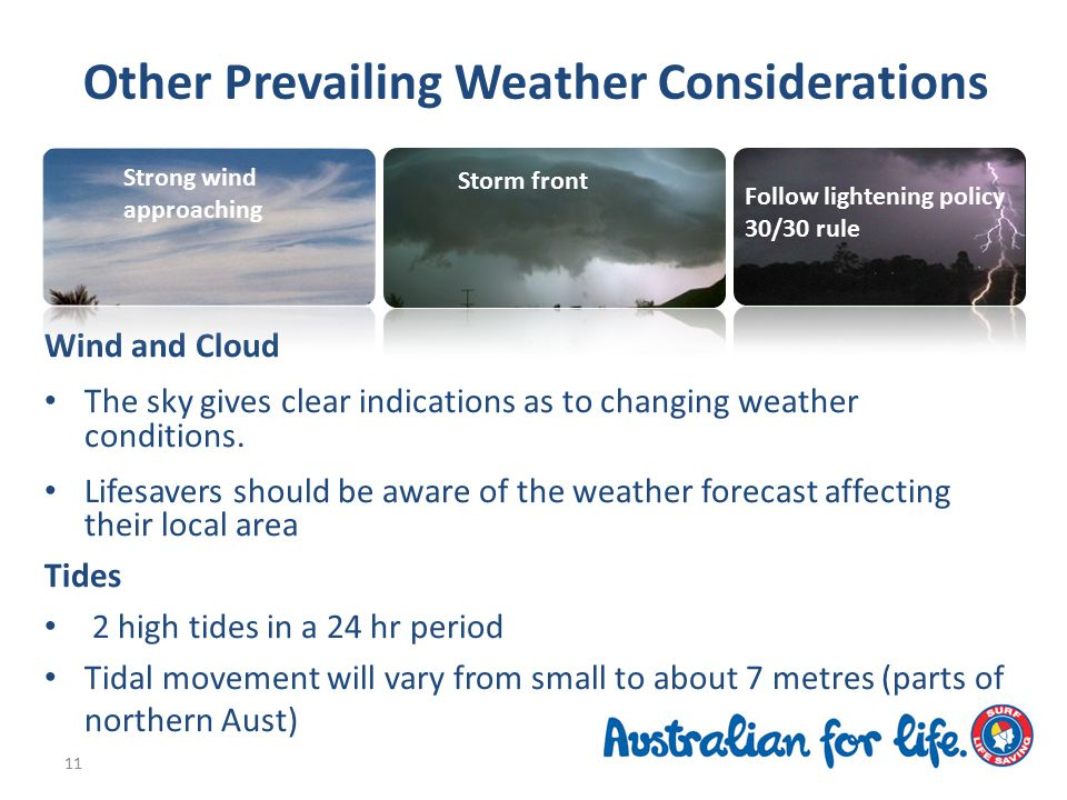 Other Prevailing Weather Considerations Wind and Cloud The sky gives clear indications as to changing weather conditions.