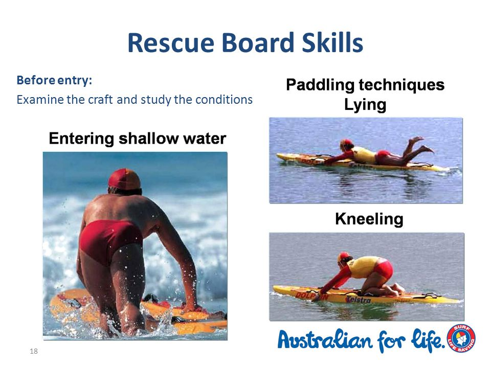 Rescue Board Skills Before entry: Examine the craft and study the conditions 18