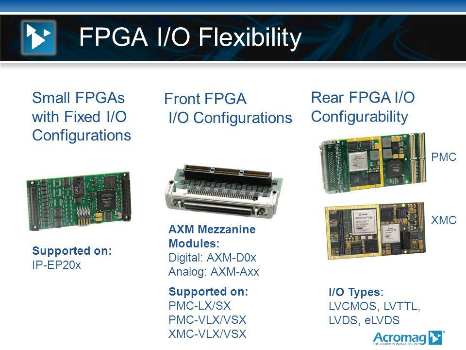FPGA I/O Flexibility Small FPGAs with Fixed I/O Configurations Front FPGA I/O Configurations Rear FPGA I/O Configurability Supported on: PMC-LX/SX PMC-VLX/VSX XMC-VLX/VSX Supported on: IP-EP20x PMC XMC I/O Types: LVCMOS, LVTTL, LVDS, eLVDS AXM Mezzanine Modules: Digital: AXM-D0x Analog: AXM-Axx