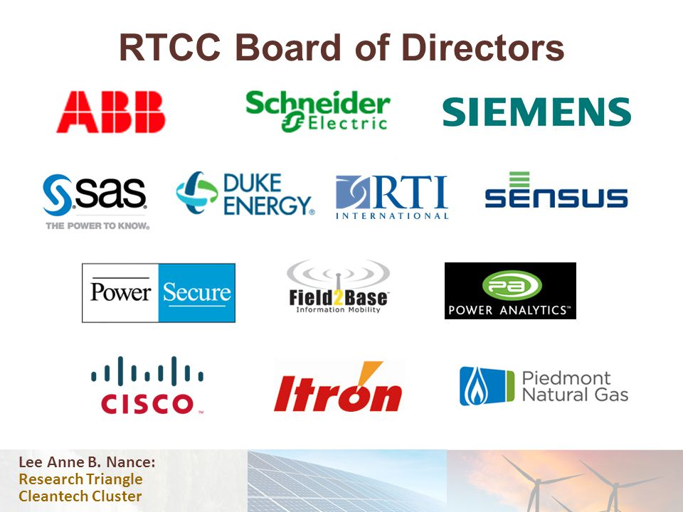 RTCC Board of Directors Lee Anne B. Nance: Research Triangle Cleantech Cluster
