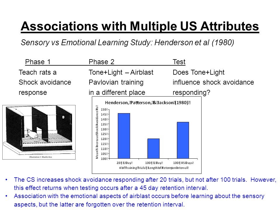Associations with Multiple US Attributes Sensory vs Emotional Learning Study: Henderson et al (1980) Phase 1Phase 2Test Teach rats aTone+Light – AirblastDoes Tone+Light Shock avoidancePavlovian traininginfluence shock avoidance responsein a different placeresponding.