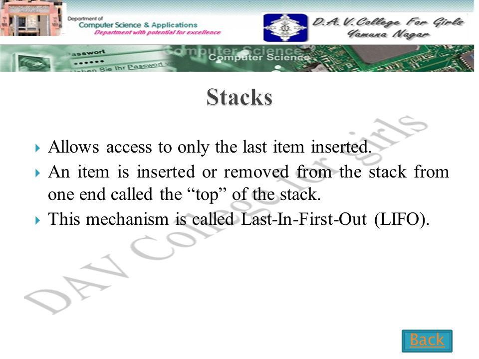  Allows access to only the last item inserted.