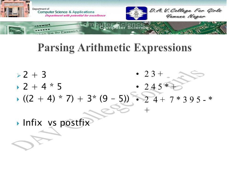  2 + 3  2 + 4 * 5  ((2 + 4) * 7) + 3* (9 – 5))  Infix vs postfix 2 3 + 2 4 5 * + 2 4 + 7 * 3 9 5 - * +