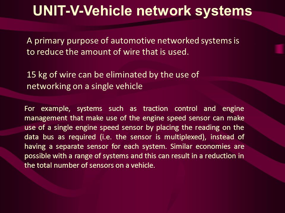 UNIT-V-Vehicle network systems A primary purpose of automotive networked systems is to reduce the amount of wire that is used.