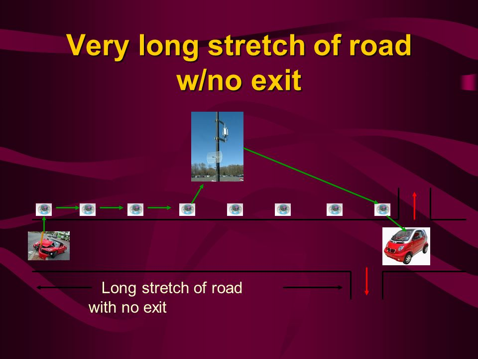 Very long stretch of road w/no exit Long stretch of road with no exit