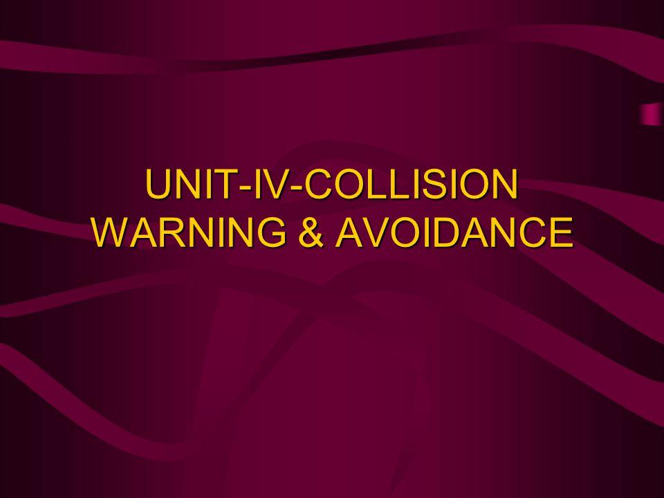 UNIT-IV-COLLISION WARNING & AVOIDANCE
