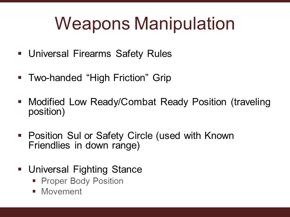 Weapons Manipulation  Universal Firearms Safety Rules  Two-handed High Friction Grip  Modified Low Ready/Combat Ready Position (traveling position)  Position Sul or Safety Circle (used with Known Friendlies in down range)  Universal Fighting Stance  Proper Body Position  Movement