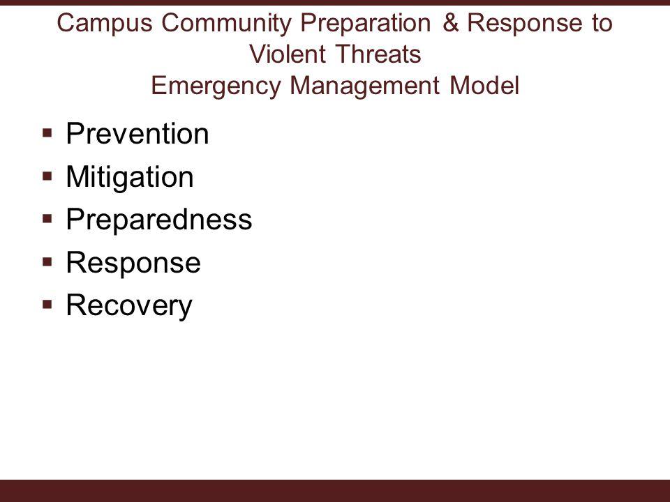  Prevention  Mitigation  Preparedness  Response  Recovery
