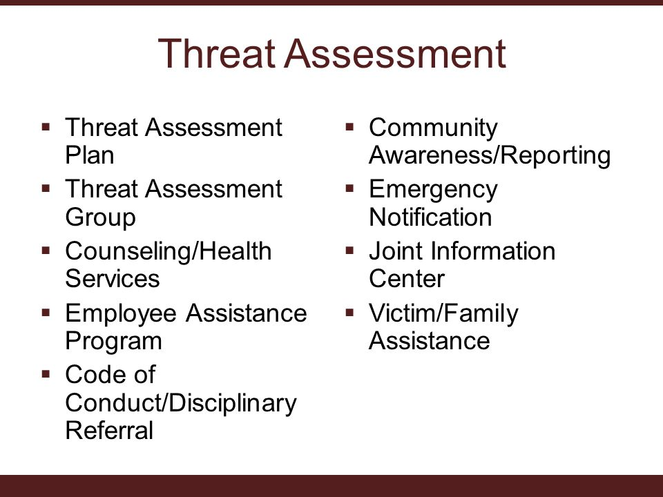 Threat Assessment  Threat Assessment Plan  Threat Assessment Group  Counseling/Health Services  Employee Assistance Program  Code of Conduct/Disciplinary Referral  Community Awareness/Reporting  Emergency Notification  Joint Information Center  Victim/Family Assistance