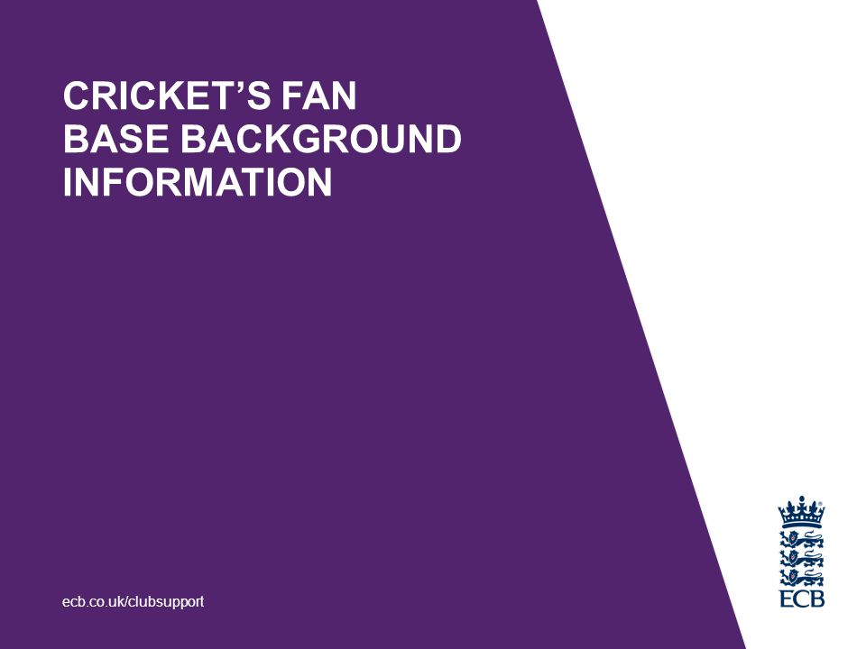 CRICKET'S FAN BASE BACKGROUND INFORMATION ecb.co.uk/clubsupport