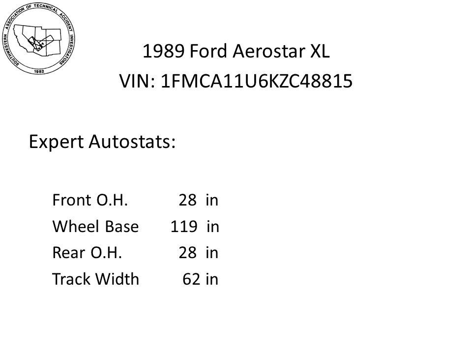 1989 Ford Aerostar XL VIN: 1FMCA11U6KZC48815 Expert Autostats: Front O.H.