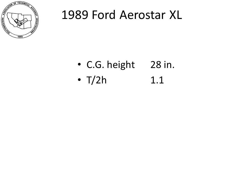 1989 Ford Aerostar XL C.G. height 28 in. T/2h1.1